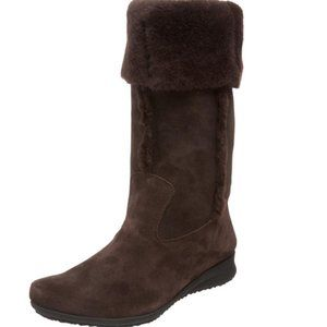 MEPHISTO Women's Brown Suede 'Florida' Shearling Boot Size 7 Excellent Condition